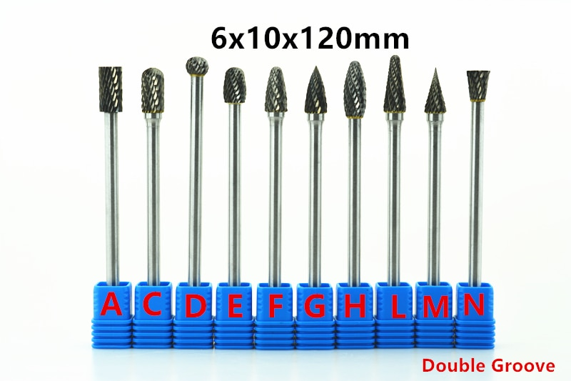 10pcs 6x10x120mm Long Tungsten Carbide Burrs 6mm rob for dremel Grinding Steel Grinding Wood Grinding