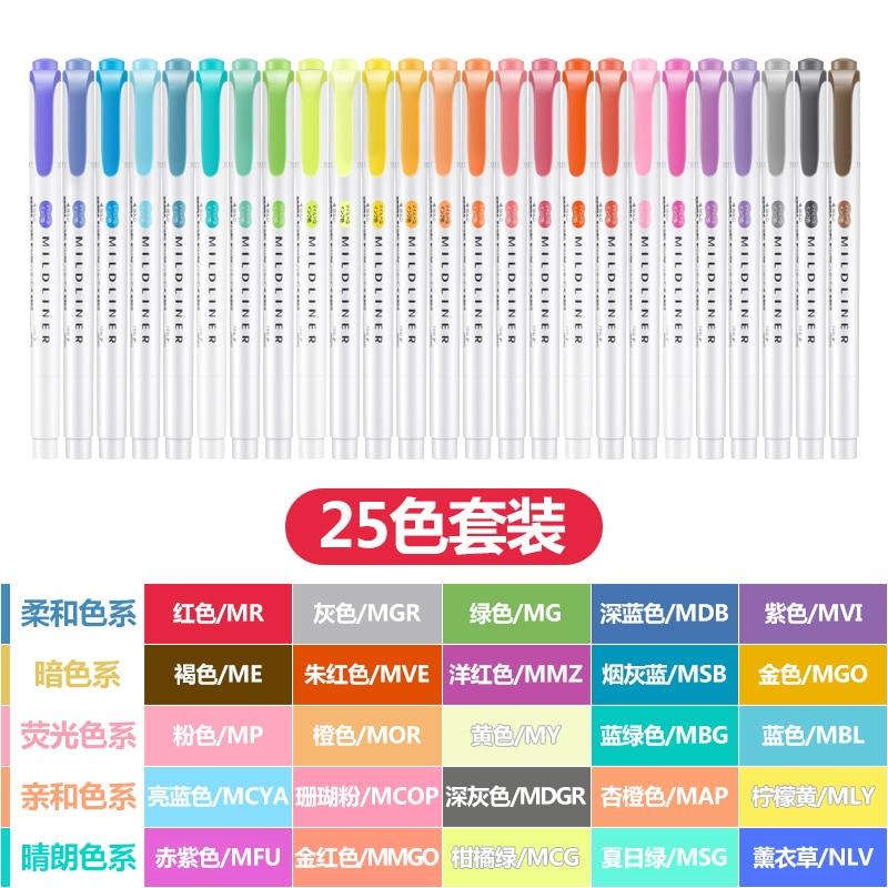 Zebra 25Color Set Double-headed Highlighter Marker mildliner color Pastel Colors Student Painting Graffiti Mark Art Supplies