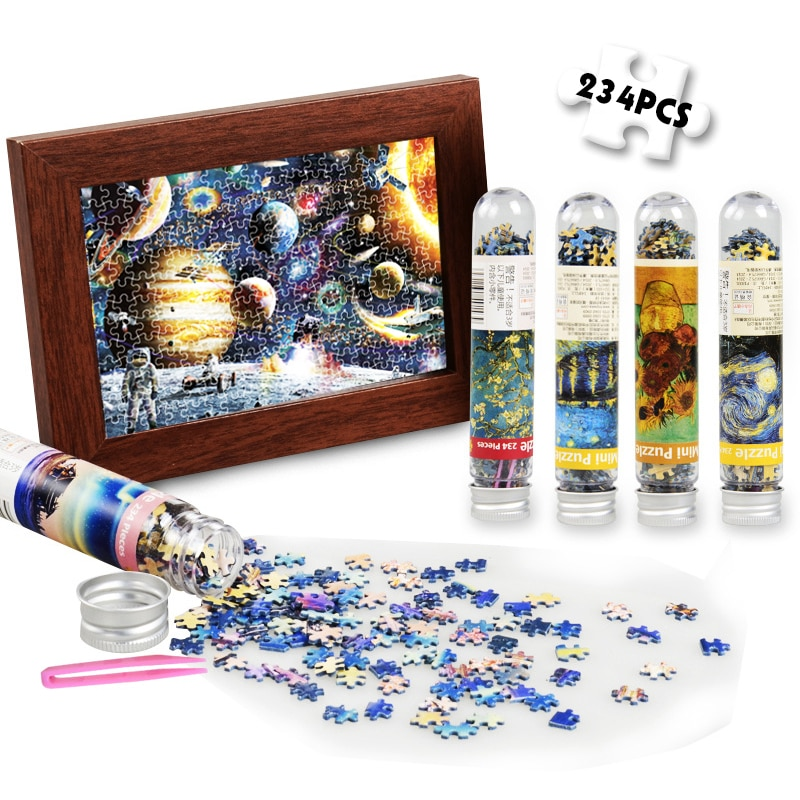 234 взрослое пейзаж головоломки мини игрушки Тесты трубка головоломки игры OilPainting головоломка карман головоломка обучения собирать игрушки