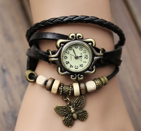 Foreign trade antique watch fashion leather wrapped bracelet epidermis women table butterfly pendant