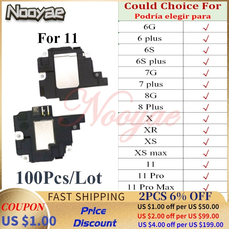 Probado para Iphone 6 6G 6S 7 7G 8 8G Plus X XR XS 11 Pro zumbador timbre altavoz Cable flexible tablero 100 unids/lote