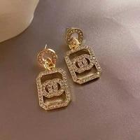 european and american fashion metal geometry rectangular womens earrings popular gold c shaped pendant earrings accessories