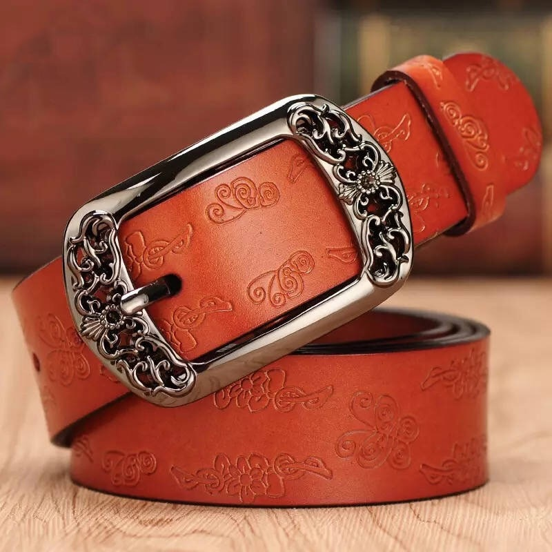 second layer пиджак Simple and retro Genuine Leather Belts for Women Second Layer Cowskin Vintage Pin Buckle Strap Jeans
