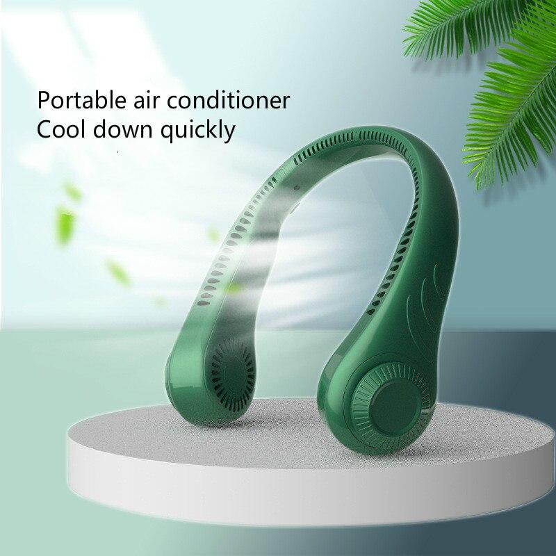 Безлопастной подвесной мини-вентилятор для шеи, 4000 мАч, USB Перезаряжаемый вентилятор, бесшумные спортивные вентиляторы, бесшумный охлаждаю...