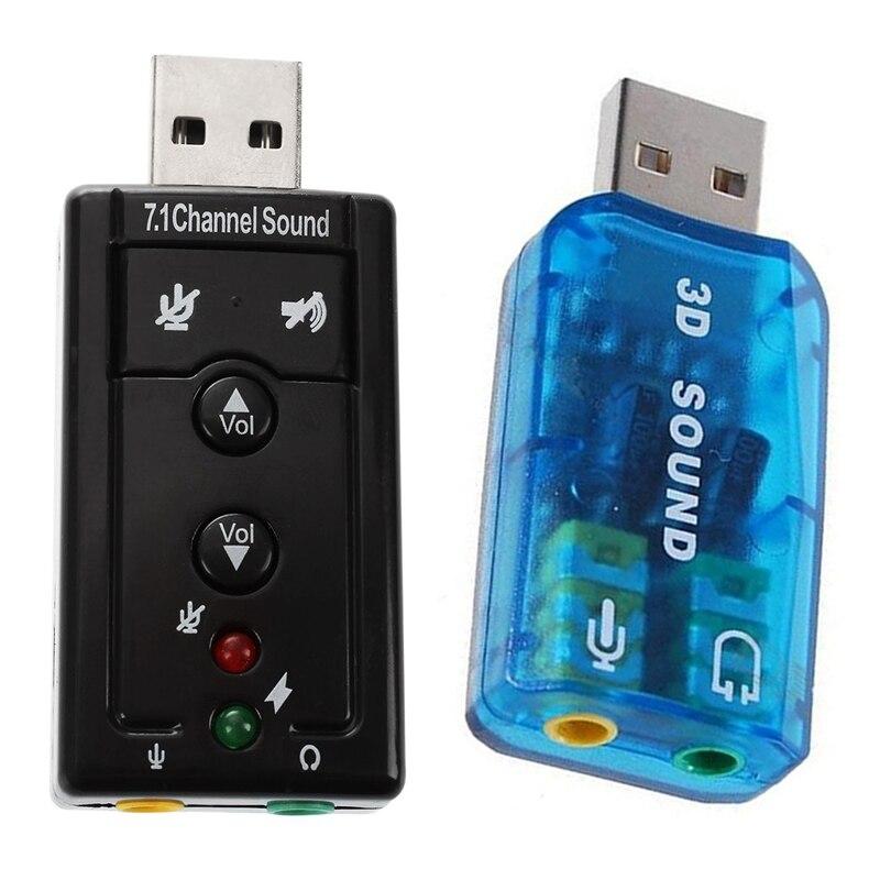 HOT-2 Pcs USB 5,1 und 7,1 Kanal USB Stereo Soundkarte Adapter (Windows 7 Kompatibel) licht Blau & Schwarz