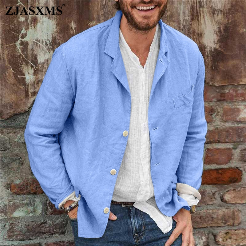 Men Casual Turn-down Collar Solid Simple Coat Spring Single Breasted Button Cardigan Autumn Long Sle