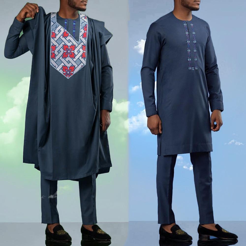 H & D زائد حجم Agbada الرجال الأفريقي 3 قطعة مجموعة أنقرة التطريز Dashiki Boubou قمصان السراويل دعوى مساء الزفاف التقليدية بالزي