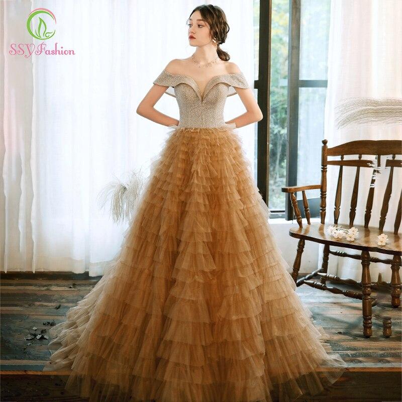 Ssymoda nuevo lujo vestido De Noche champán romántico lentejuelas empalme princesa larga capas vestido formal Vestidos De Noche