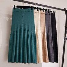 2020 automne et hiver nouveauté taille haute tricot a-ligne jupe plissée élastique longue sauvage parapluie jupe laine jupe livraison gratuite