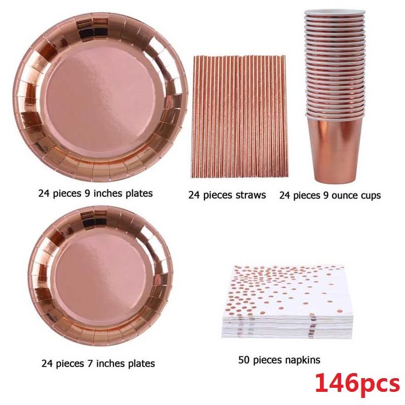 Juego de vajilla de fiesta de casamiento 146 Uds cubiertos Rosa dorados desechables platos de papel servilletas tazas pajitas suministros de Navidad cumpleaños