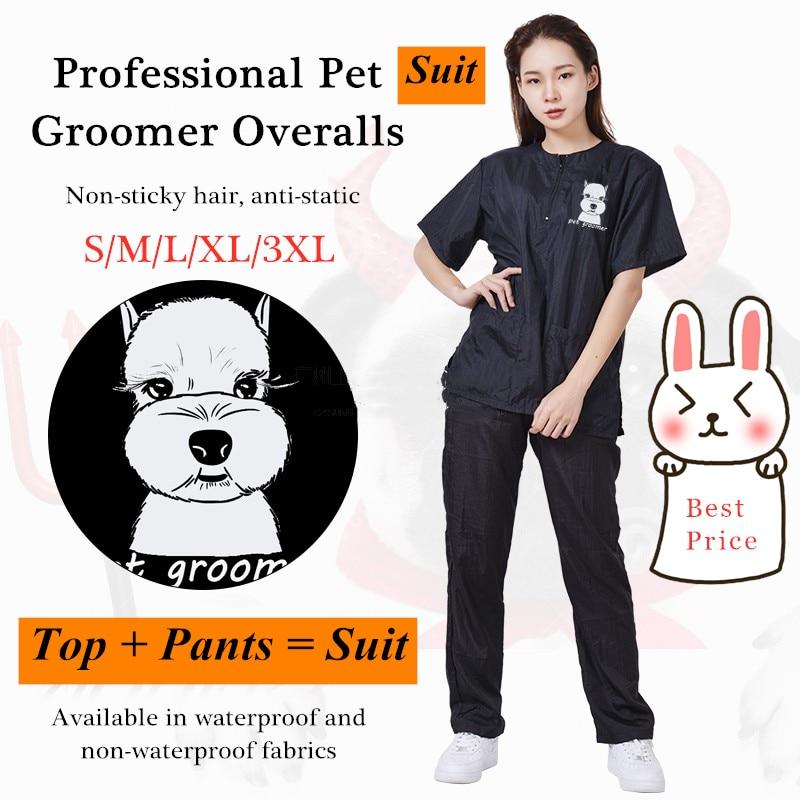 S/M/L/XL/3XL Pet Groomer Waterproof Uniform Suit Cut Pet Hair Breathable Soft Pet Beautician Overalls Set Pro Groomer Robe G0708