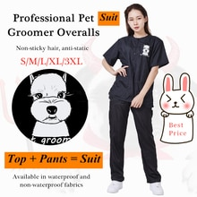 S/M/L/XL/3XL Pet Groomer Waterproof Uniform Suit Cut Pet Hair Breathable Soft Pet Beautician Overall