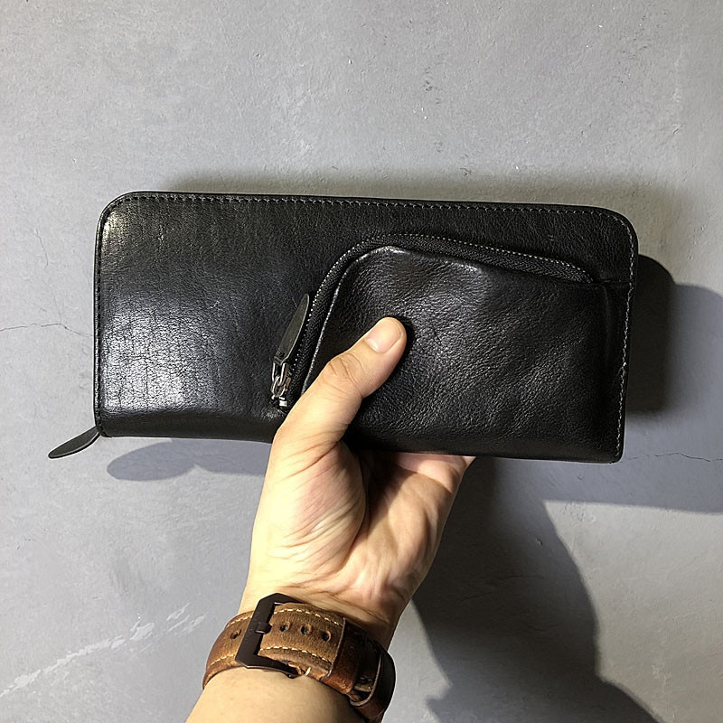 Retro handmade Real cowhide men long wallet casual high-quality natural real leather wallet multi-card pocket mobile phone bag