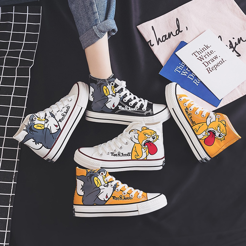 Women Anime Tom Cartoon Print Patchwork Shoes Brand Lovely Girls Canvas Thick Heel Sneakers Designer