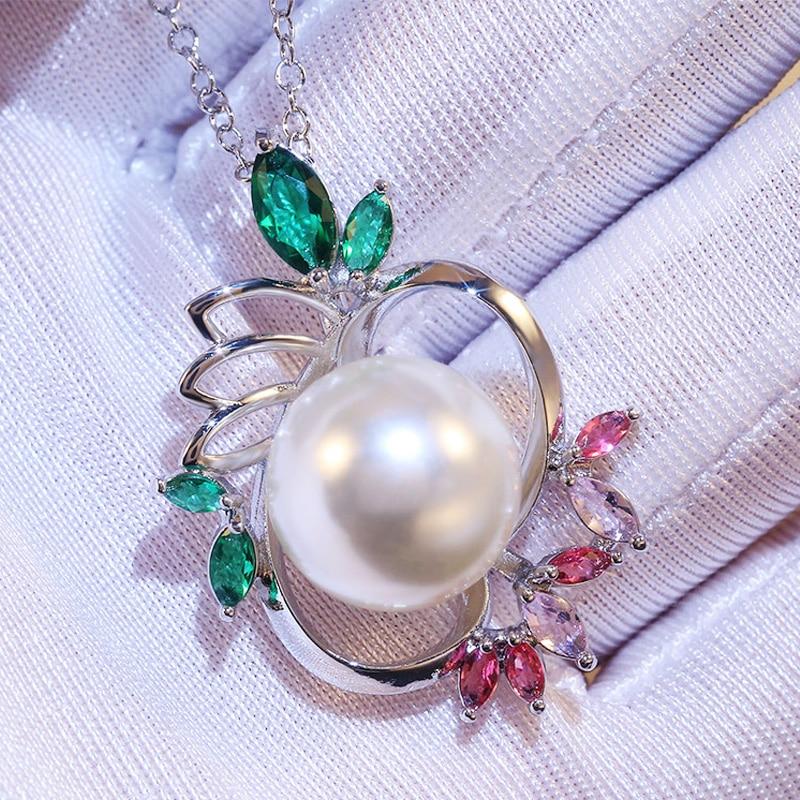 Huitan grande redondo imitação pérola pingente colar forma de lótus colorido pedra bonita colar feminino para festa de noivado item