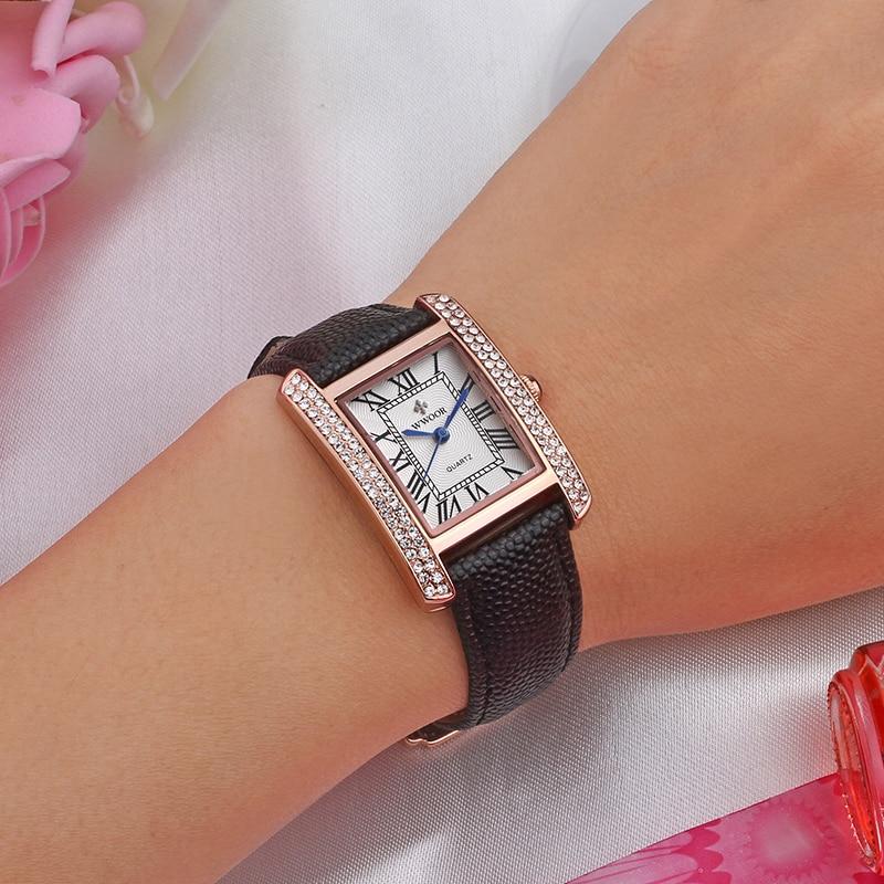 Montre Femme WWOOR Elegant Women Watches Famous Brand Luxury Diamond Square Ladies Wrist Watch Black Leather Bracelet Watch 2020 enlarge