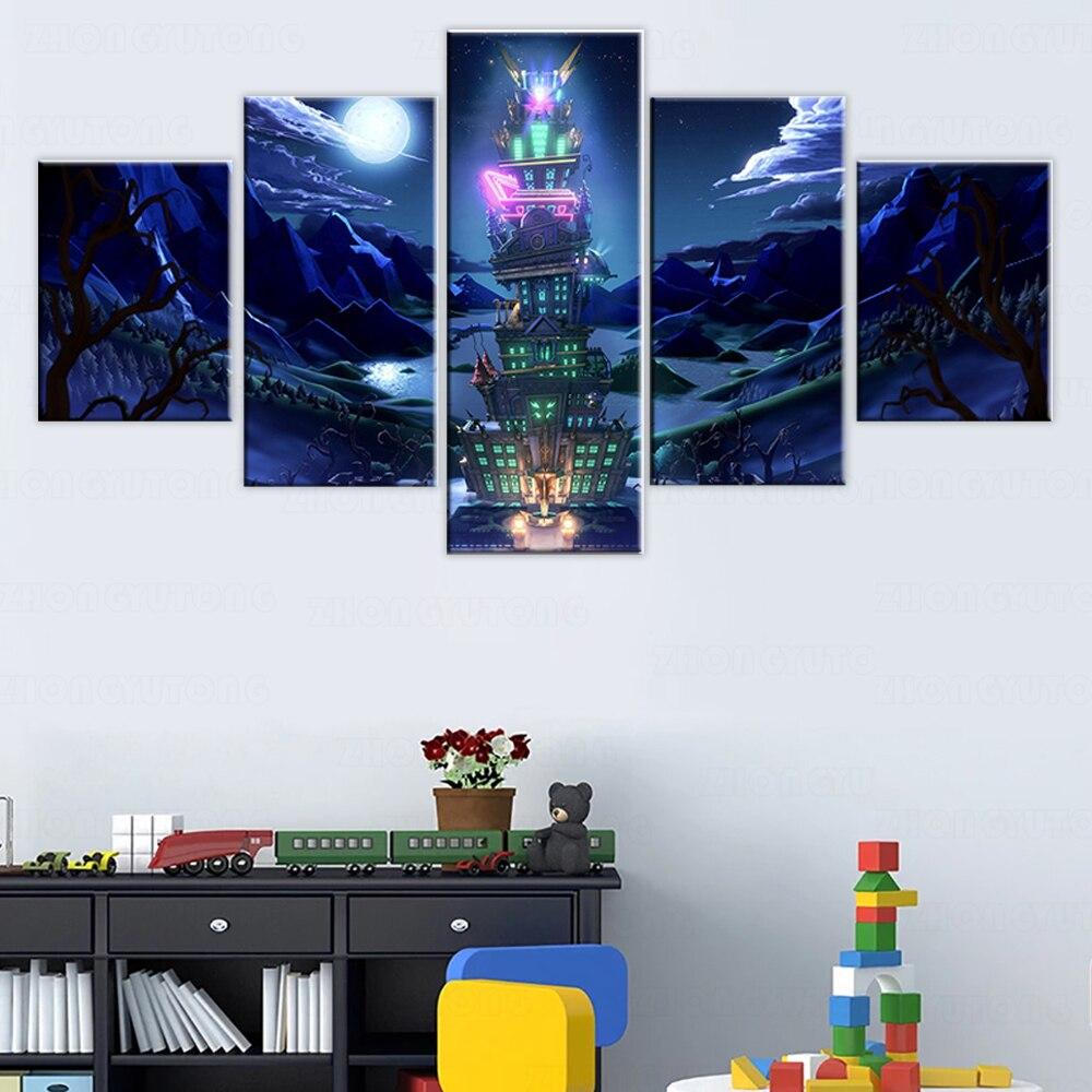 5 piezas de lona pinturas de Luigis mansión 3 póster del juego...