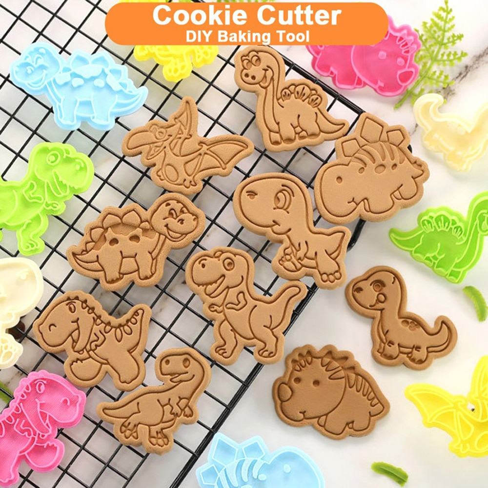 1 Pcs Cute Dinosaur Cookie Cutters Cartoon Biscuit Mold Cake Decoratiing Stamp Kitchen Baking Tool