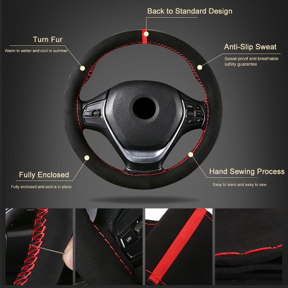 38cm Universal funda de volante de coche de gamuza transpirable coser a mano trenza antideslizante partes del vehículo con aguja, hilo