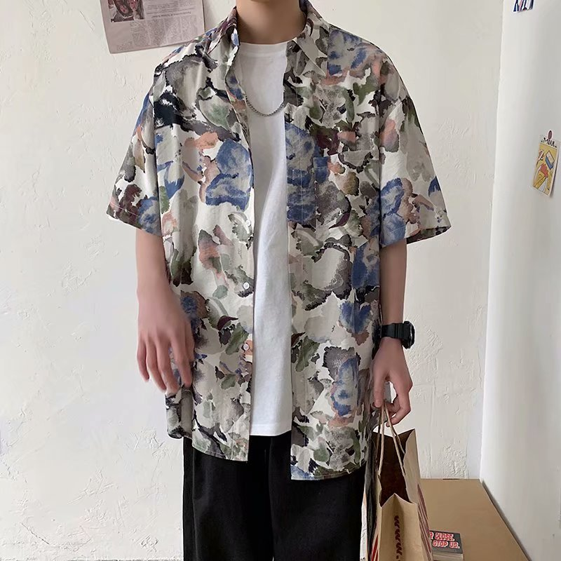 Summer Flower Shirt Men's Fashion Printed Casual Shirt Loose Hawaiian Shirt Men Streetwear Wild Short-sleeved Shirt M-3XL