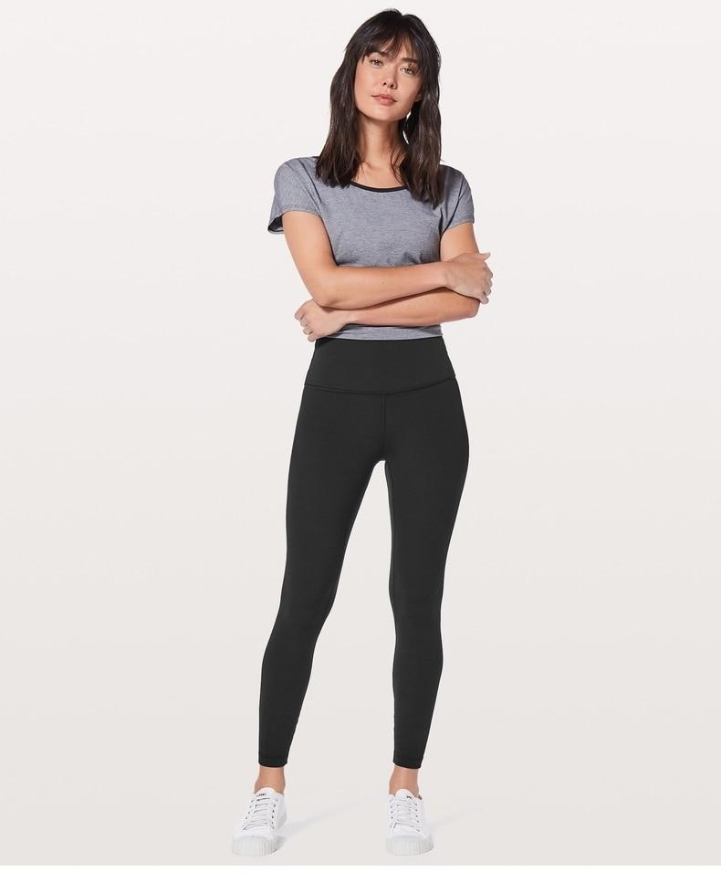 Lulu y lemon Hip-Up Deporte Fitness pantalones mujeres sólido alto cintura gimnasio Running medias elástico Nylon + Spandex Yoga Pantalones