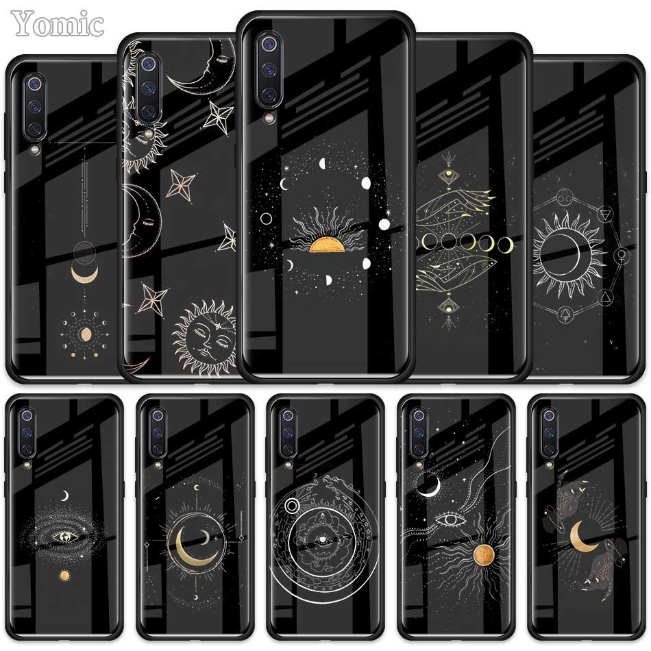 Чехол Art Sun Flowers Cat Snake Moon для Xiaomi Redmi Mi Note A3 9T 10 Lite Youth 10X 9 9S 8 8T K30 K20 Pro K30i, стеклянный чехол