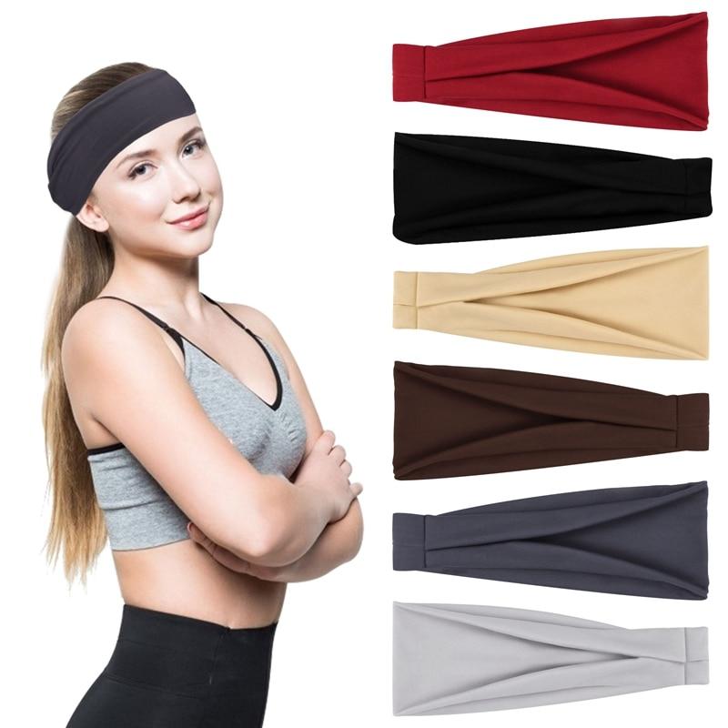 6 Pcs Sport Sweat Headbands Women Elastic Workout Headband Sports Yoga Hair Bands Wide Bandeau for Cycling Running Sports
