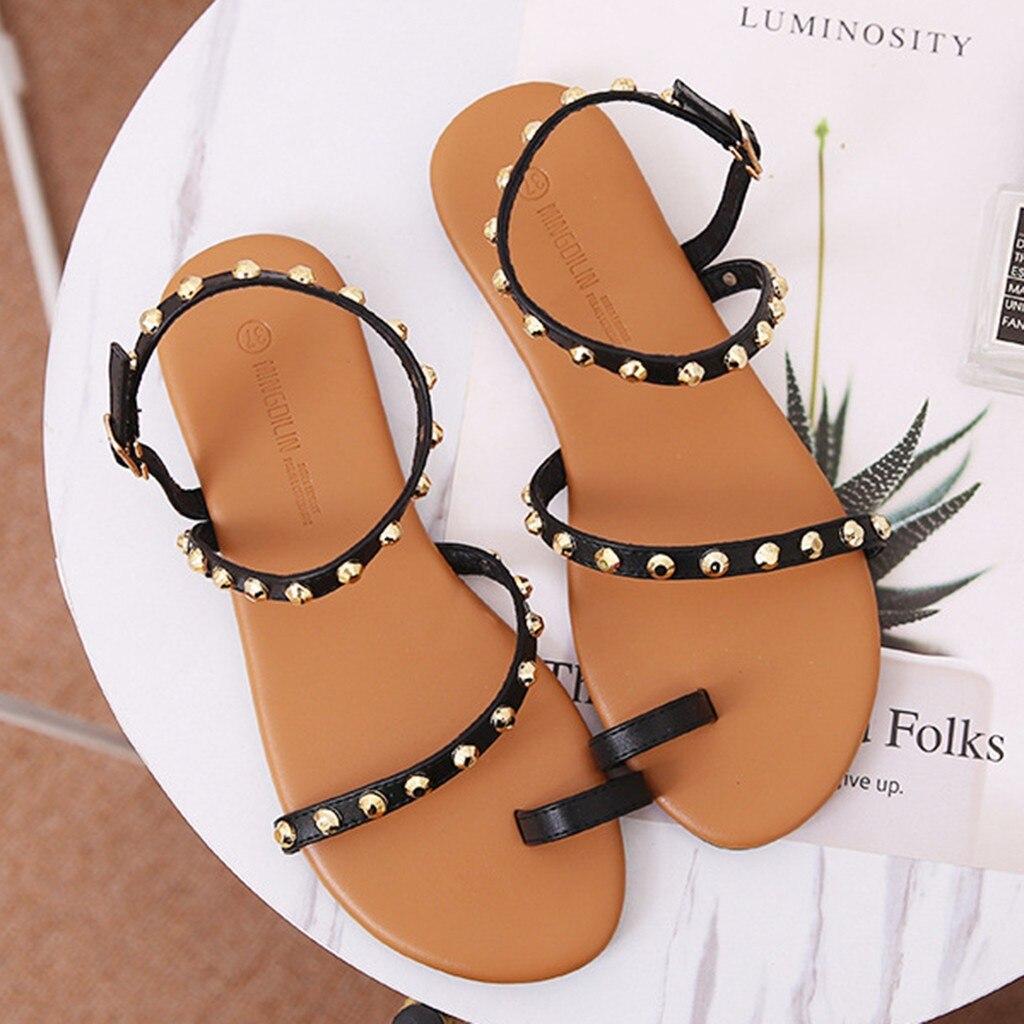 Sandalias de verano para mujer, hebillas con remaches, Sandalias Vintage, zapatos con hebilla para mujer, zapatos con punta en los dedos, Sandalias Retro de talla grande # g30
