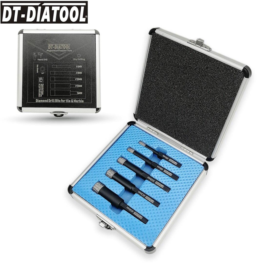 DT-DIATOOL 5pcs/box Vacuum Brazed Dry Diamond Drilling Core Bits Hole Saw