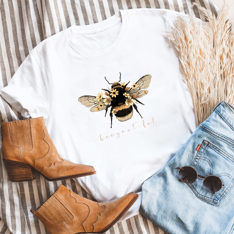 Colored Beeyoutiful Bees T-shirt Aesthetic Summer Graphic Motivational Tshirt Fashion Women Short Sl