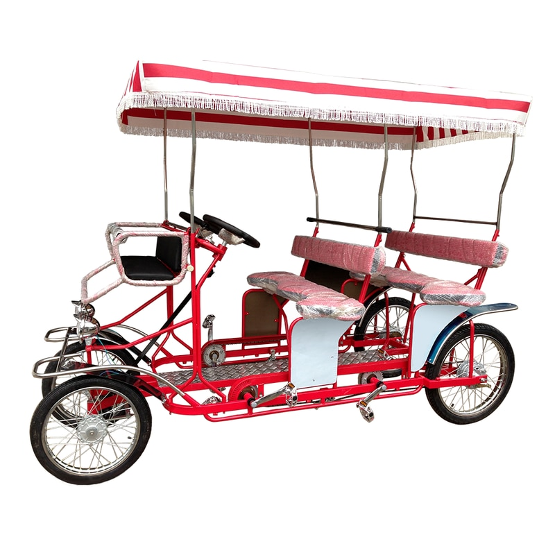 Best-selling Park Sightseeing 4 Person Surrey Bike Cycles Family Fun Pedal Four Person Tandem Beach Bike for Sale