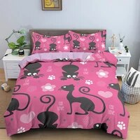 3d bedding sets cat pattern duvet cover pillowcase twinqueenking size bed room for kids comfortable healthy bedding