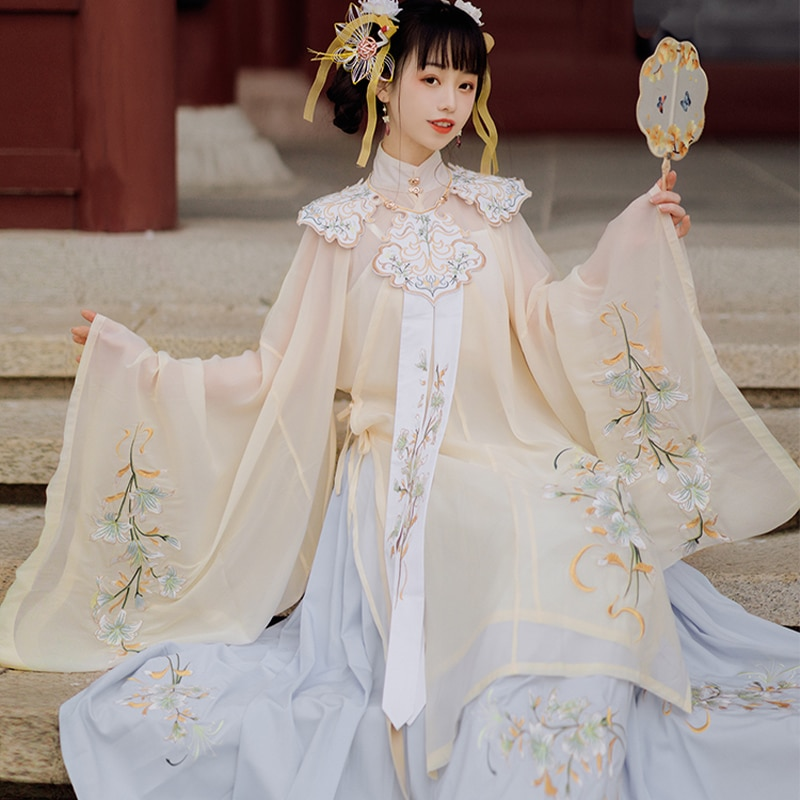 Woman Chinese Traditional Dance Costumes Handmade Embroidered Hanfu Dress Fairy Ancient Oriental Style Ming Dynasty Dress Set фото