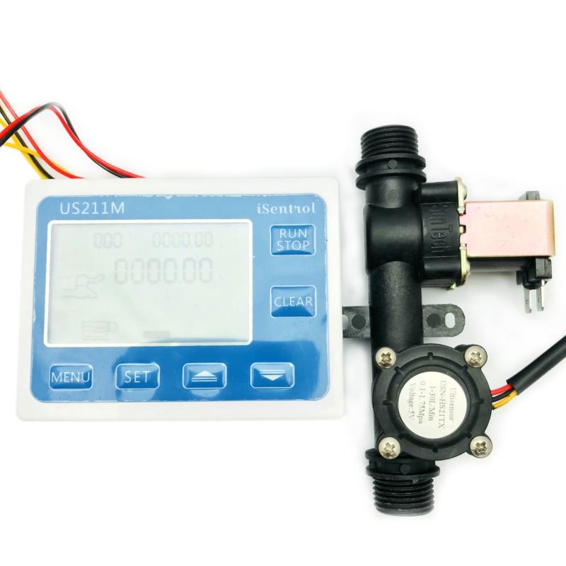 Offre spéciale US211M contrôleur de Dosage lecteur de débit et USN-HS21TX capteur de débit deau à effet Hall intégré avec électrovanne