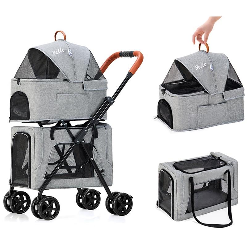 Pet Cat Stroller Folding Double-layer Newborn Baby Stroller Dog Pull Cart Four-wheel Shock Dog Transporter Carrier Dog Travel