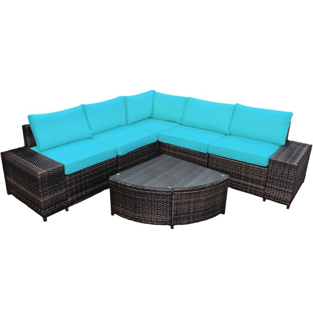 6PCS Rattan Furniture Set Conversation Cushioned Sofa Armrest Garden HW66413