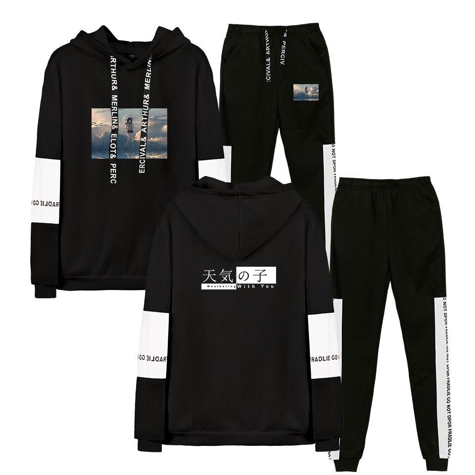 Tenki No Ko Hoodie Sweatshirt Sweatpants Suit Harajuku Anime Sky Print Hoodies Set Men Women Hoodie Sweatpants Tracksuit Unisex
