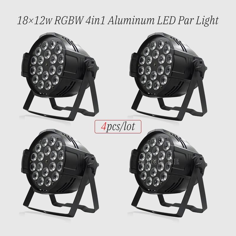 4 قطعة/السلع 18x12w led الاسمية أضواء RGBW 4in1led dmx512 ديسكو أضواء المهنية المرحلة dj معدات