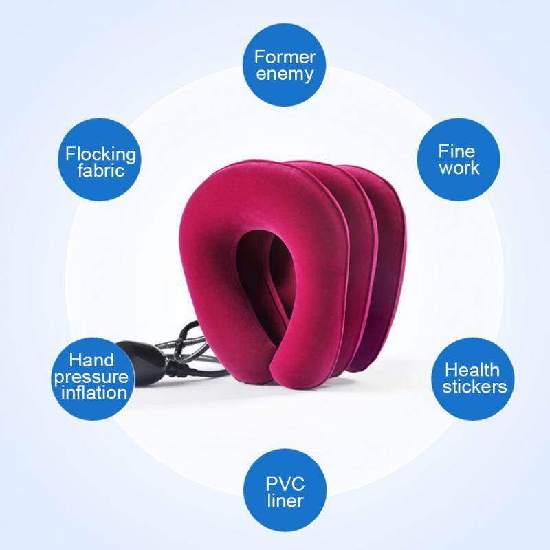 3 camadas inflável pescoço tração colar macio cervical dispositivo de alongamento ar travesseiro cervical para pescoço & ombro alívio da dor cinta