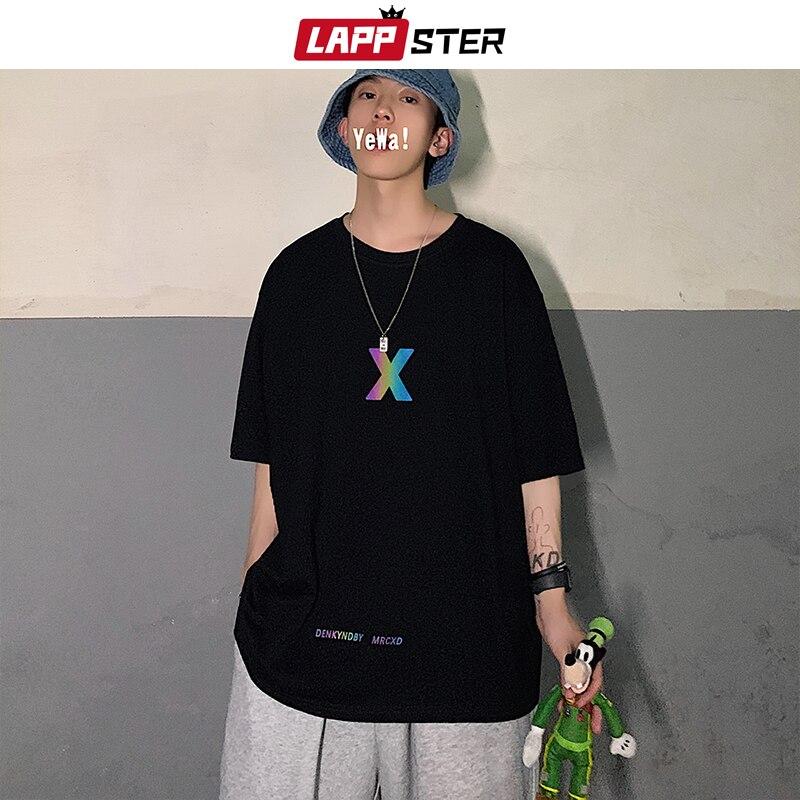 Harajuku hip hop streetwear tees coreano gráficos topos t 5xl lappster homens de grandes dimensões reflexivo cruz t camisas 2020 verão