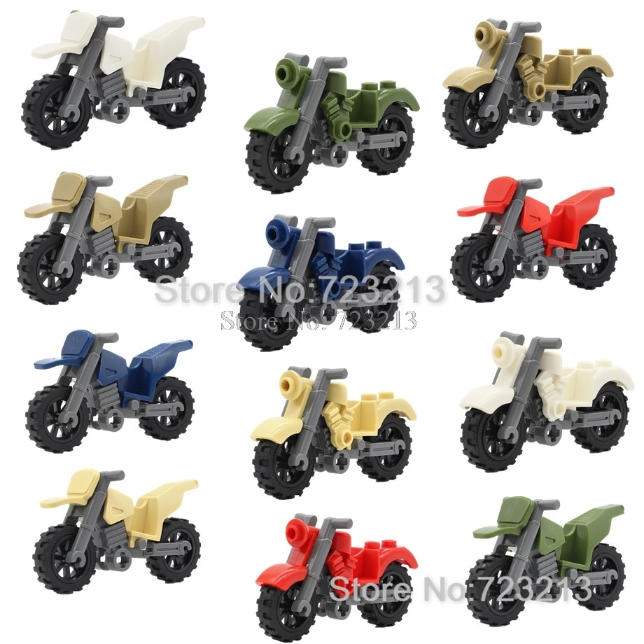 Véhicules de moto 6cm simples accessoires de moto MOC moteurs SWAT pièces blocs de construction militaires briques jouets éducatifs