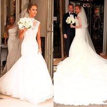 Modeste sirène robes de mariée 2020 robe de mariée appliqué dentelle robes de mariée balayage Train à la main robe de mariée