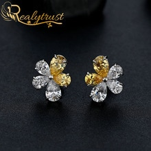 Realytrust Personalized 925 Sterling Silver Flower Stud Earrings with Created Diamond Earrings For W