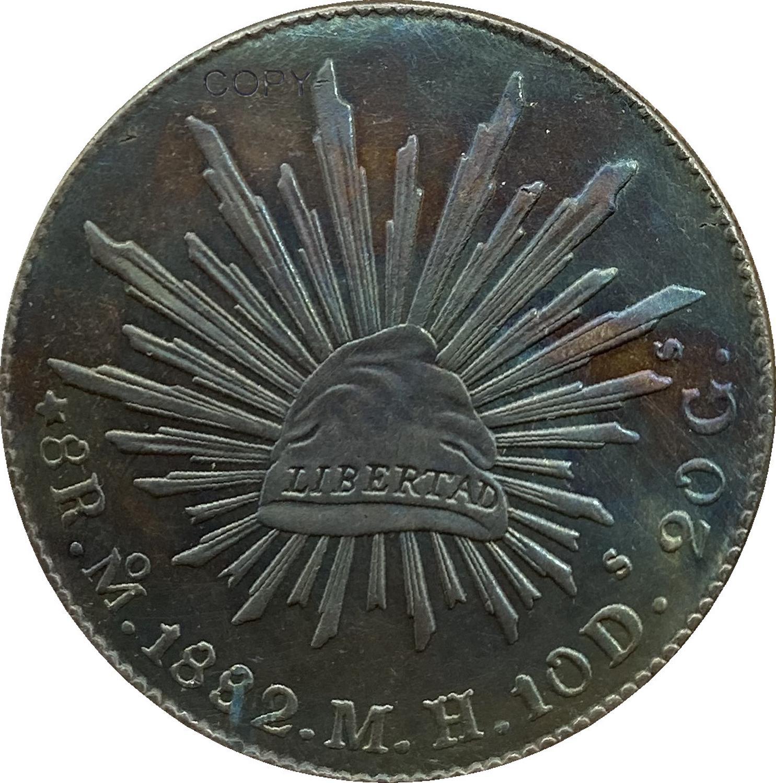 Mexiko 8 Reales 1882 M H Gehen FR Überzogene Silber Kopie Münze