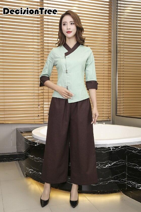 2020 chinese style women men foot bath sauna uniforms hotel waiter work sets top+pant spa salon chinese massage workwear suit