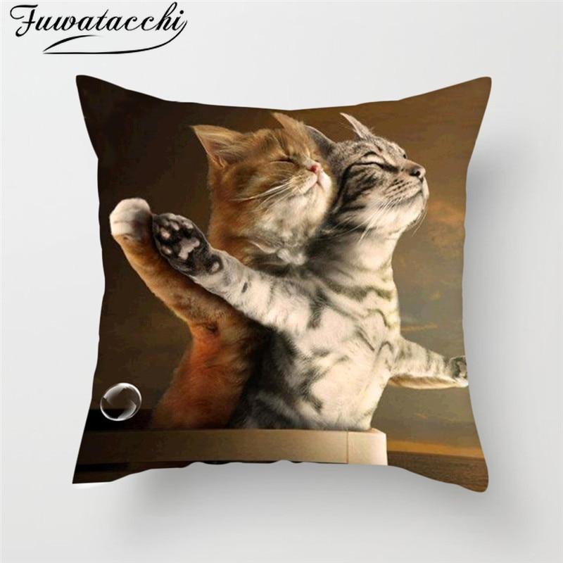 Fuwatacchi Schmetterling Mohn Kissen Abdeckung Nette Katze Gedruckt Kissen Abdeckung Lustige Platz Dekorative Kissenbezüge für Home Sofa Sitz