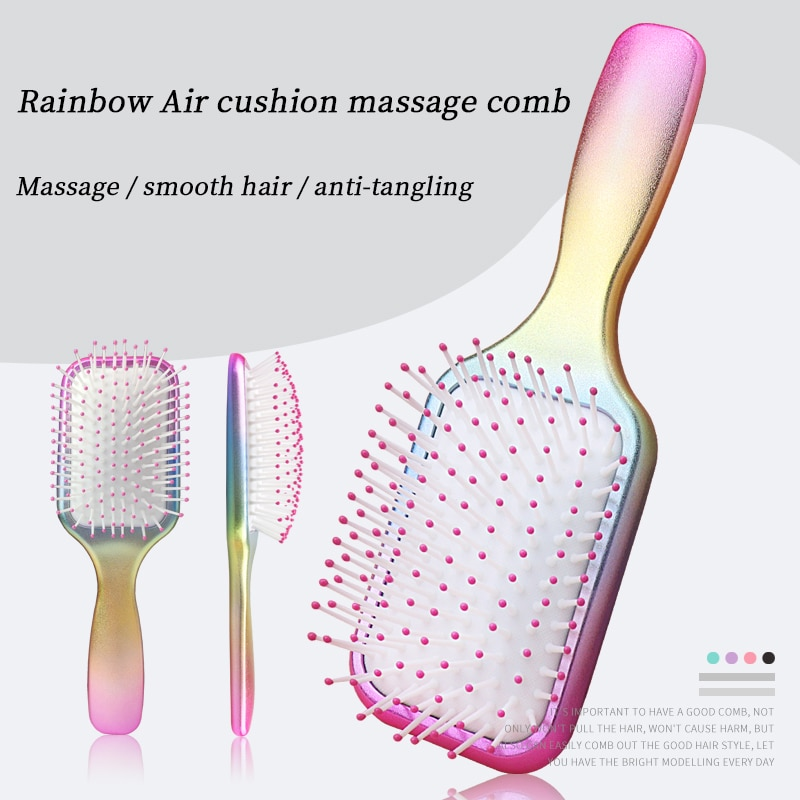 Rainbow massage hair comb Anti-static air cushion hairbrush Wet hair tangled and smooth hair brush, for hair scalp care massage