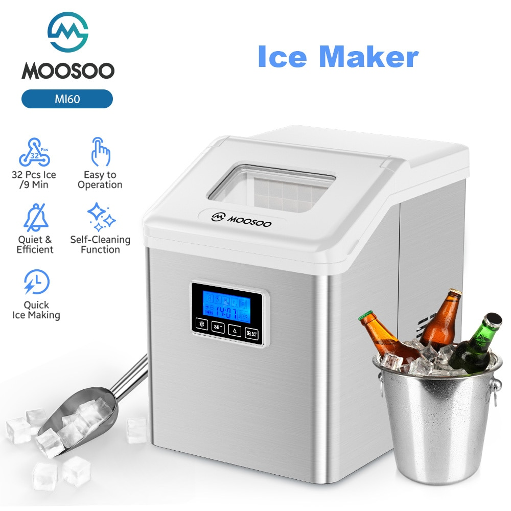 MOOSOO Electric Ice maker Ice Machine 18kg/24h Countertop with Auto Self-Cleaning Household Mini Ice Making Machine For Milk Tea