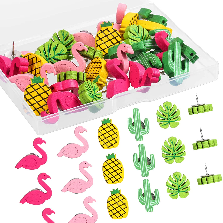 Кнопки MOGII для офиса, фламинго, ананаса, кактуса, пальмового листа, декоративные кнопки для большого пальца, милые кнопки для рисования, була...
