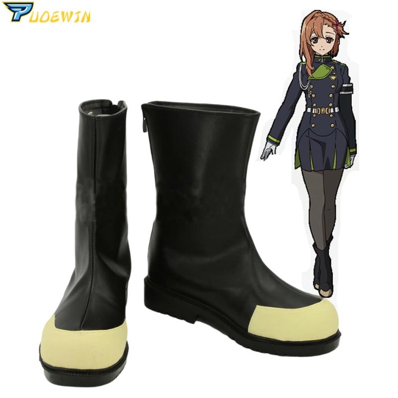 Seraph of the end Owari no Seraph Hiiragi Shinoa Cosplay Shoes Boots Cusom-Made